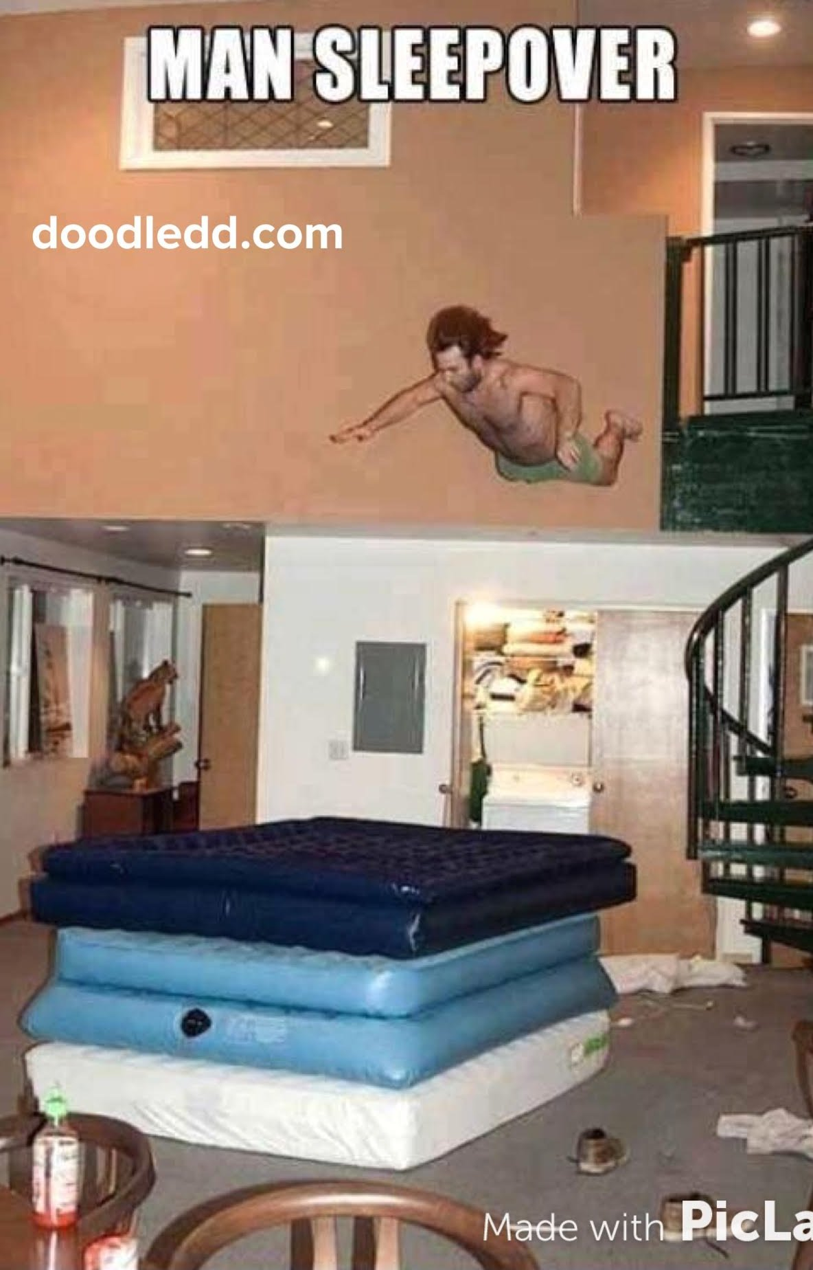 ManSleepover = Man diving onto air mattresses