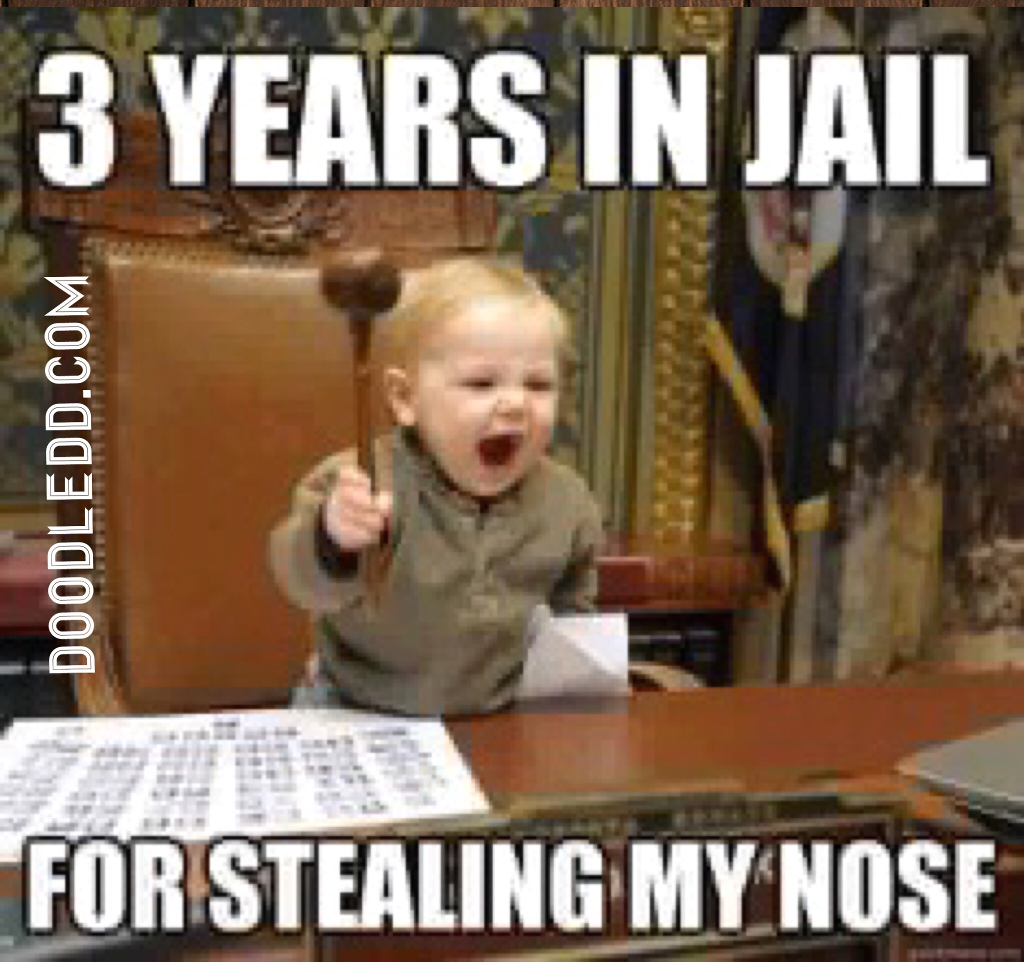 Baby with Gavel - 3 years in jail for Stealing my Nose